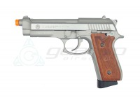 CYBERGUN Taurus PT92 CO2 Full Metal Blowback Pistol, Semi/FULL Auto- Silver/Wood Style Grip